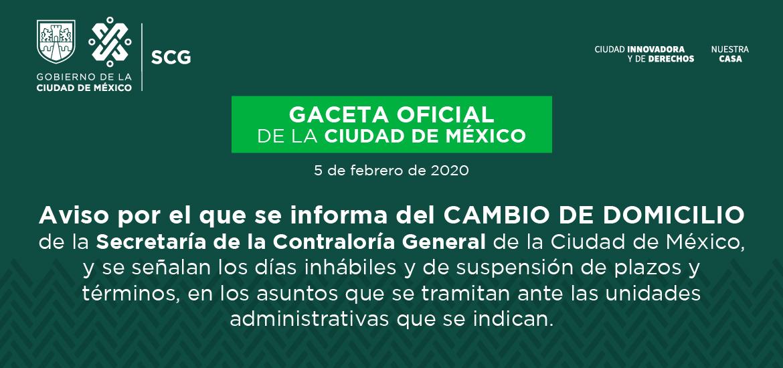Imagen Cambio de domicilio Secretaría de la Contraloría General