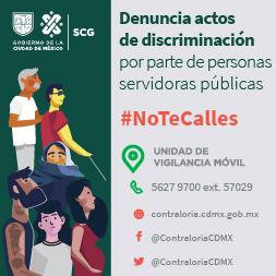 Imagen con texto: Denuncia actos de discriminación por parte de personas servidoras públicas