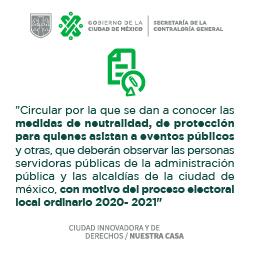 Imagen con texto: Circular SCG Proceso Electoral
